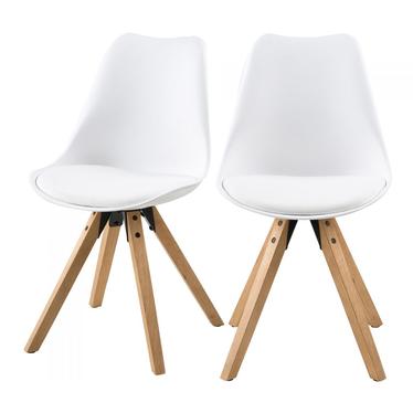 Zestaw dwóch krzeseł Djum biało - dębowe