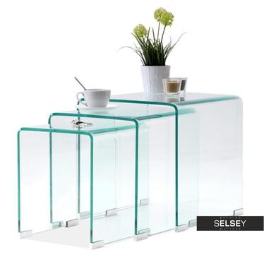 Zestaw stolików kawowych Trio ze szkła 42x40 cm, 36x35 cm, 30x30 cm