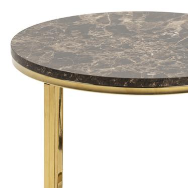 Stolik kawowy Bakar o średnicy 50 cm brązowy ze złotą chromowaną podstawą