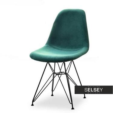Krzesło MPC rod tap zielony - czarny welurowe