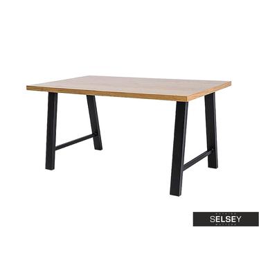 Stół Vedia lity dąb/czarny 180x90 cm