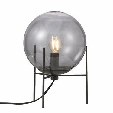 Lampa stołowa Alton szare szkło na czarnej podstawie