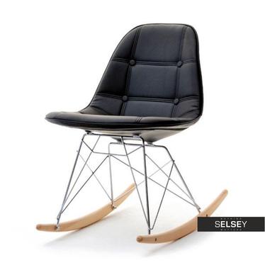 Krzesło bujane MPC roc tap czarne z pikowanej ekoskóry