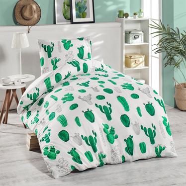 Komplet pościeli Kaktusy 140x220 cm z poszewką na poduszkę 50x70 cm