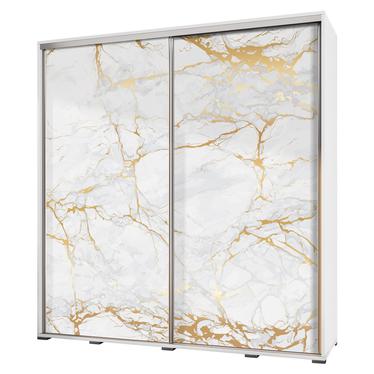 Szafa Wenecja 205 cm Biały marmur ze złotem