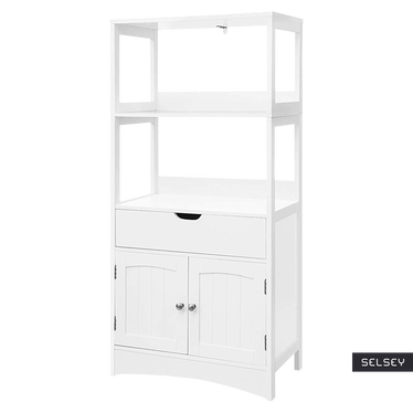 Regał łazienkowy Luke rustykalny słupek z szufladą i szafką