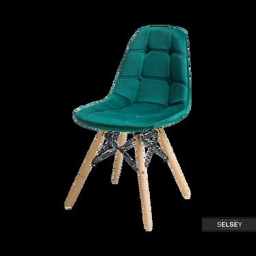 Krzesło Rovej zielone aksamitne