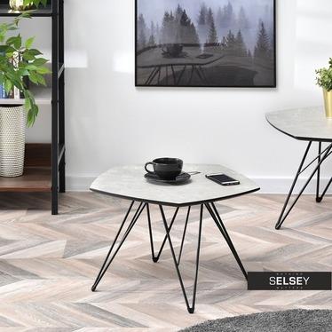 Stolik kawowy Penta 57x56 cm szary marmur - czarny single