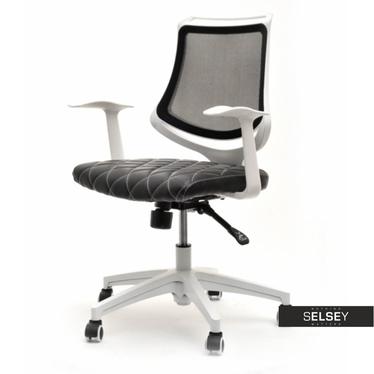Fotel biurowy Paris czarno - biały pikowany