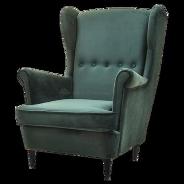 Fotel Malmo butelkowa zieleń - czarny uszak welurowy