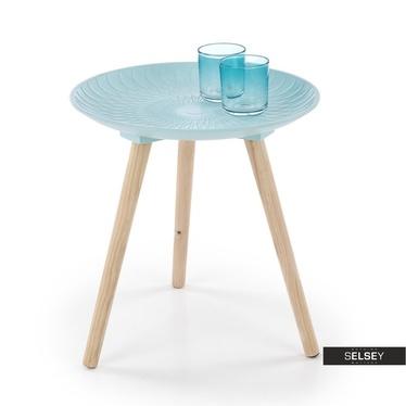 Stolik kawowy Yugo o średnicy 40 cm niebieski