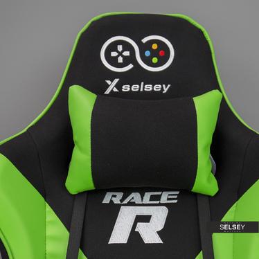Fotel gamingowy Gadrar II czarno - zielony z poduszkami