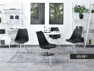 Krzesło Luis rod czarne na chromowanej podstawie
