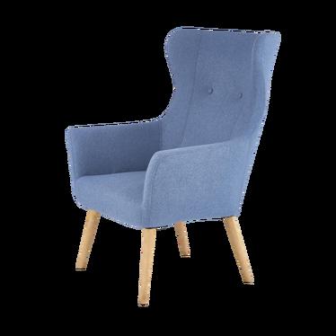 Fotel Sorano na drewnianych nogach - niebieskie tapicerowanie