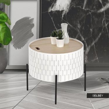 Ciekawy Stolik kawowy Avene biały o średnicy 35 cm z pojemnikiem