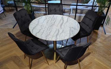 Zestaw dwóch krzeseł tapicerowanych Briare czarne na złotej podstawie obrotowe