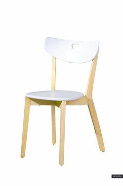 Krzesło Batino białe z wyprofilowanym oparciem