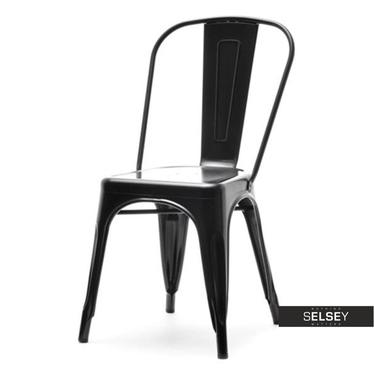 Krzesło Alfredo 1 czarne loftowe z metalu