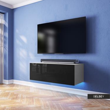Szafka RTV Skylara 100 cm biały mat / czarny połysk z oświetleniem RGB
