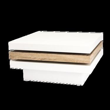 Ława Hazin 80x80 cm biała ze wstawką dąb sonoma