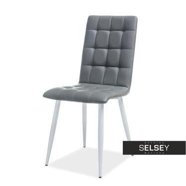 Krzesło Molveno szara ekoskóra na białej podstawie