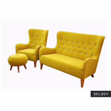 Komplet wypoczynkowy Floreto sofa i fotel z podnóżkiem
