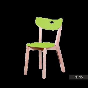 Krzesło Aston limonkowe z wyprofilowanym oparciem