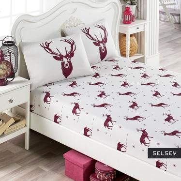 Prześcieradło Folk 160x200 cm z dwiema poszewkami na poduszki 50x70 cm bordowe jelenie