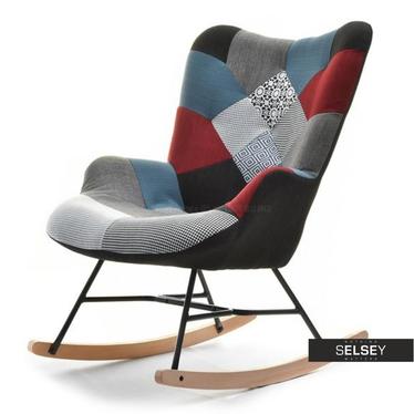 Fotel bujany Sibil patchwork z pikowaniem na drewnianych płozach