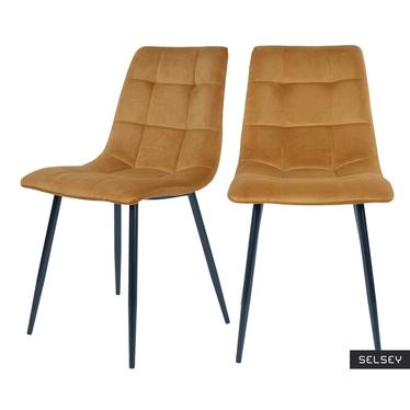 Zestaw dwóch krzeseł tapicerowanych Kirme musztardowe