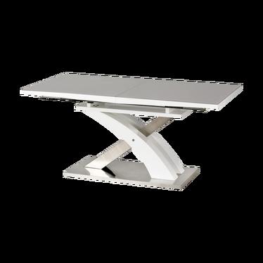 Stół rozkładany Totten 160(220)x90 cm popielaty ze szklanym blatem