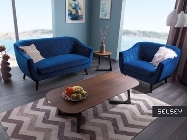 Sofa Amsterdam dwuosobowa granatowy welur