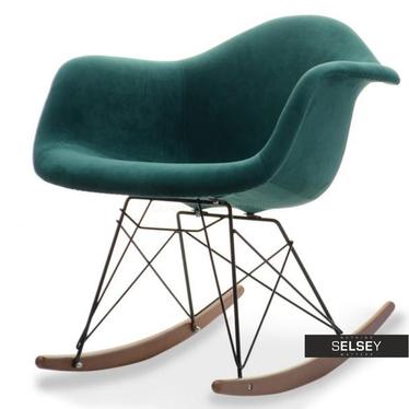 Fotel bujany MPA ROC tap zieleń-czarny orzech z tkaniny velvet