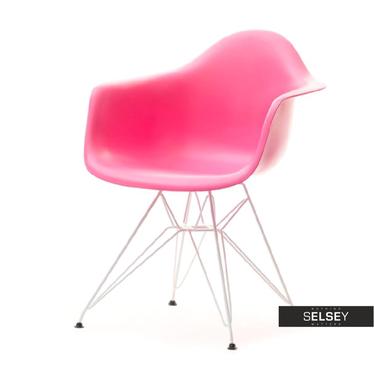 Krzesło MPA rod różowe na chromowanych nóżkach