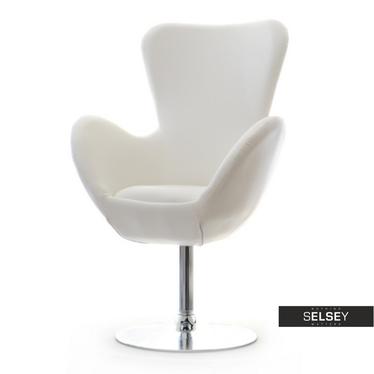 Fotel obrotowy Jacob biały - chrom uszak ekoskóra