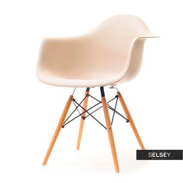 Krzesło MPA wood beżowe na drewnianych nogach