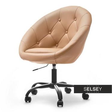 Fotel biurowy Lounge 4 karmelowa ekoskóra - czarny z pikowaniem