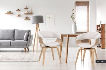 Krzesło tapicerowane Asarlo beżowe na klonowych nogach