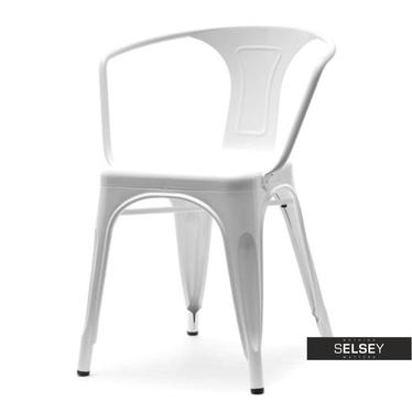 Krzesło Alfredo 2 białe industrialne z metalu