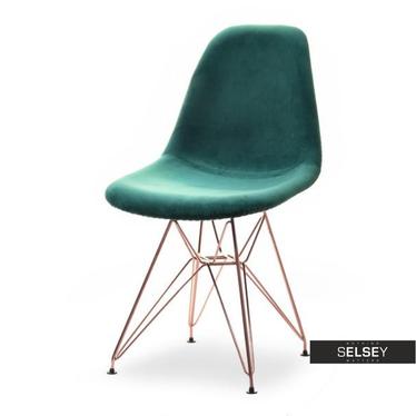 Krzesło MPC rod tap zielony-miedź welurowe do jadalni