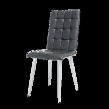 Krzesło Molveno czarna ekoskóra na białej podstawie