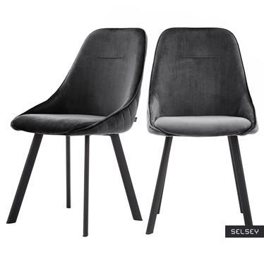 Zestaw dwóch krzeseł tapicerowanych Jonas czarne pikowane