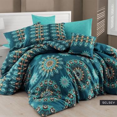Komplet pościeli Turquoise Boho 160x220 cm z poszewką na poduszkę 50x70 cm i z prześcieradłem