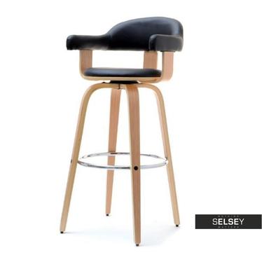 Hoker 37 dąb-czarny obrotowe krzesło barowe z giętego drewna
