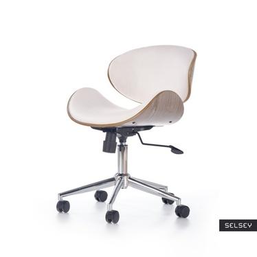 Fotel biurowy Matian biały-jasny dąb