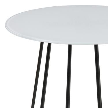 Stolik kawowy Cres o średnicy 40 cm biały z czarną podstawą
