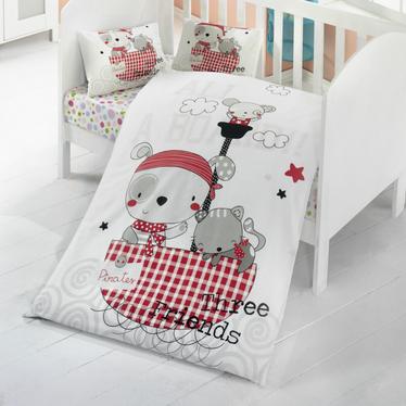 Dziecięca pościel do łóżeczka Three Friends 100x150 cm z dwiema poszewkami na poduszkę 35x45 cm i z prześcieradłem