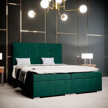 Łóżko kontynentalne Bongiorno zielone w tkaninie wodoodpornej
