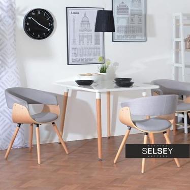 Krzesło Elina szare - jasny dąb z drewna giętego single alfi