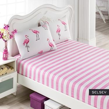 Prześcieradło Flamingo Stripes 160x200 cm z dwiema poszewkami na poduszki 50x70 cm różowe pasy i flamingi